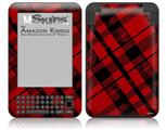 Red Plaid - Decal Style Skin fits Amazon Kindle 3 Keyboard (with 6 inch display)