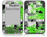 Checker Skull Splatter Green - Decal Style Skin fits Amazon Kindle 3 Keyboard (with 6 inch display)