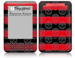 Skull Stripes Red - Decal Style Skin fits Amazon Kindle 3 Keyboard (with 6 inch display)