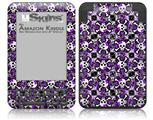 Splatter Girly Skull Purple - Decal Style Skin fits Amazon Kindle 3 Keyboard (with 6 inch display)