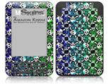 Splatter Girly Skull Rainbow - Decal Style Skin fits Amazon Kindle 3 Keyboard (with 6 inch display)