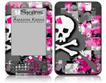Girly Pink Bow Skull - Decal Style Skin fits Amazon Kindle 3 Keyboard (with 6 inch display)