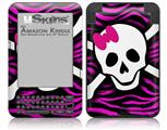 Pink Zebra Skull - Decal Style Skin fits Amazon Kindle 3 Keyboard (with 6 inch display)