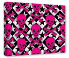 Gallery Wrapped 11x14x1.5  Canvas Art - Pink Skulls and Stars