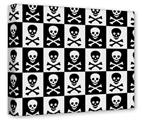 Gallery Wrapped 11x14x1.5  Canvas Art - Skull Checkerboard
