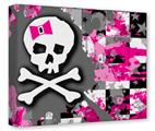 Gallery Wrapped 11x14x1.5 Canvas Art - Girly Pink Bow Skull