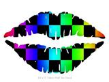 Rainbow Checkerboard - Kissing Lips Fabric Wall Skin Decal measures 24x15 inches