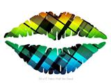 Rainbow Plaid - Kissing Lips Fabric Wall Skin Decal measures 24x15 inches