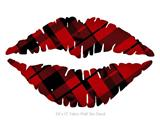 Red Plaid - Kissing Lips Fabric Wall Skin Decal measures 24x15 inches