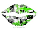 Checker Skull Splatter Green - Kissing Lips Fabric Wall Skin Decal measures 24x15 inches