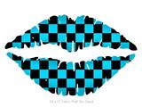 Checkers Blue - Kissing Lips Fabric Wall Skin Decal measures 24x15 inches