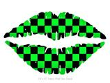 Checkers Green - Kissing Lips Fabric Wall Skin Decal measures 24x15 inches