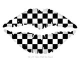 Checkers White - Kissing Lips Fabric Wall Skin Decal measures 24x15 inches