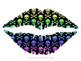 Skull and Crossbones Rainbow - Kissing Lips Fabric Wall Skin Decal measures 24x15 inches