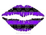 Skull Stripes Purple - Kissing Lips Fabric Wall Skin Decal measures 24x15 inches