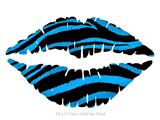 Zebra Blue - Kissing Lips Fabric Wall Skin Decal measures 24x15 inches