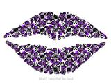 Splatter Girly Skull Purple - Kissing Lips Fabric Wall Skin Decal measures 24x15 inches