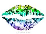 Scene Kid Sketches Rainbow - Kissing Lips Fabric Wall Skin Decal measures 24x15 inches