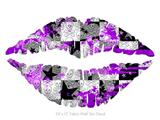 Purple Checker Skull Splatter - Kissing Lips Fabric Wall Skin Decal measures 24x15 inches