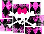 Pink Diamond Skull - 7 Piece Fabric Peel and Stick Wall Skin Art (50x38 inches)