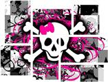 Splatter Girly Skull - 7 Piece Fabric Peel and Stick Wall Skin Art (50x38 inches)