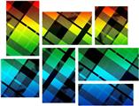 Rainbow Plaid - 7 Piece Fabric Peel and Stick Wall Skin Art (50x38 inches)