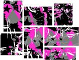 SceneKid Pink - 7 Piece Fabric Peel and Stick Wall Skin Art (50x38 inches)
