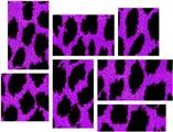 Purple Leopard - 7 Piece Fabric Peel and Stick Wall Skin Art (50x38 inches)