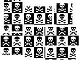 Skull Checkerboard - 7 Piece Fabric Peel and Stick Wall Skin Art (50x38 inches)