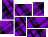 Purple Plaid - 7 Piece Fabric Peel and Stick Wall Skin Art (50x38 inches)