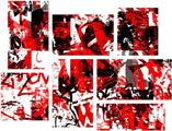 Red Graffiti - 7 Piece Fabric Peel and Stick Wall Skin Art (50x38 inches)