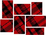 Red Plaid - 7 Piece Fabric Peel and Stick Wall Skin Art (50x38 inches)