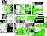 Checker Skull Splatter Green - 7 Piece Fabric Peel and Stick Wall Skin Art (50x38 inches)