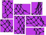 Ripped Fishnets Purple - 7 Piece Fabric Peel and Stick Wall Skin Art (50x38 inches)