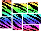 Tiger Rainbow - 7 Piece Fabric Peel and Stick Wall Skin Art (50x38 inches)