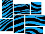 Zebra Blue - 7 Piece Fabric Peel and Stick Wall Skin Art (50x38 inches)