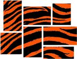 Zebra Orange - 7 Piece Fabric Peel and Stick Wall Skin Art (50x38 inches)