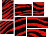 Zebra Red - 7 Piece Fabric Peel and Stick Wall Skin Art (50x38 inches)