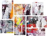 Abstract Graffiti - 7 Piece Fabric Peel and Stick Wall Skin Art (50x38 inches)