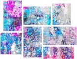 Graffiti Splatter - 7 Piece Fabric Peel and Stick Wall Skin Art (50x38 inches)