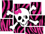 Pink Zebra Skull - 7 Piece Fabric Peel and Stick Wall Skin Art (50x38 inches)