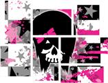 Scene Kid Girl Skull - 7 Piece Fabric Peel and Stick Wall Skin Art (50x38 inches)
