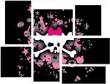 Scene Skull Splatter - 7 Piece Fabric Peel and Stick Wall Skin Art (50x38 inches)