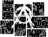 Anarchy - 7 Piece Fabric Peel and Stick Wall Skin Art (50x38 inches)