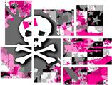 Girly Pink Bow Skull - 7 Piece Fabric Peel and Stick Wall Skin Art (50x38 inches)