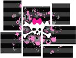 Pink Bow Skull - 7 Piece Fabric Peel and Stick Wall Skin Art (50x38 inches)