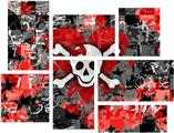 Emo Skull Bones - 7 Piece Fabric Peel and Stick Wall Skin Art (50x38 inches)