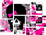 Scene Girl Skull - 7 Piece Fabric Peel and Stick Wall Skin Art (50x38 inches)