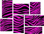Pink Zebra - 7 Piece Fabric Peel and Stick Wall Skin Art (50x38 inches)