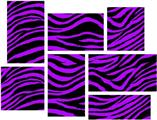 Purple Zebra - 7 Piece Fabric Peel and Stick Wall Skin Art (50x38 inches)